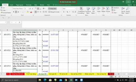 Xử lý lỗi Name ở cột khối lượng trong sheet dự toán như thế nào?