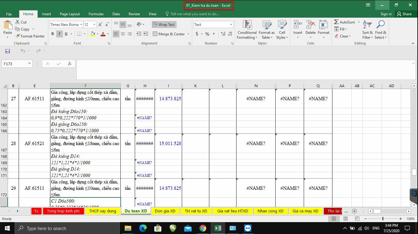 cách xử lý lỗi name cột khối lượng và đơn giá trong bảng dự toán