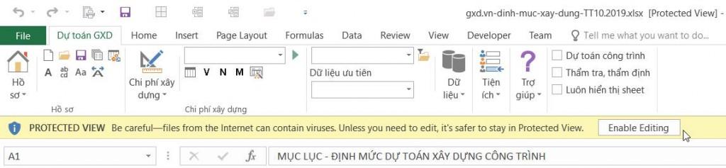 Thanh công cụ Protected View hiện ra chỉ cho xem ở chế độ bảo vệ. Kích nút Enable Editing để hết lỗi Ref khối lượng